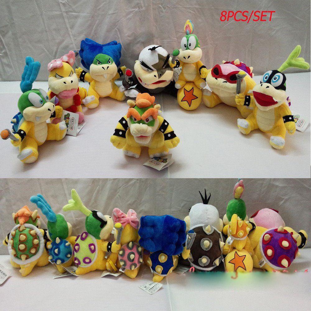 8Pcs Set Super Mario Bros. Cute Bowser Soft Plush Plush Plush Doll Stuffed Toy Hot 5 -8  Q ecd7d3