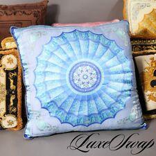 HUGE Atelier Versace Silk Blend Blue Radial Medusa Sheer Barocco Pillow Cushion