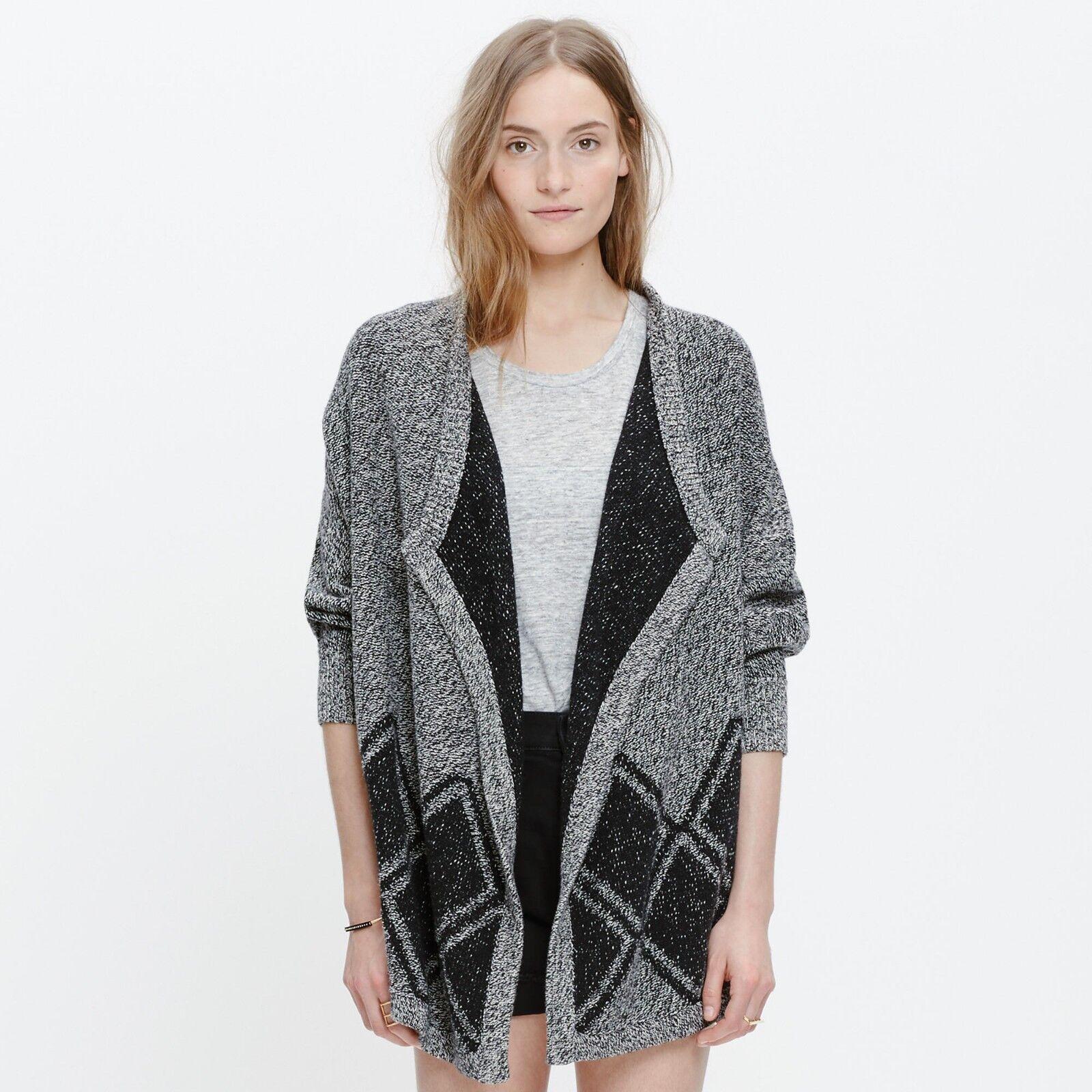 Madewell all angles Öffnen cardigan sweater diamond pattern drapey marled XS S