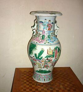 Grand-vase-en-porcelaine-Chine-a-decor-de-personnages-famille-Canton-XIX-Chinese