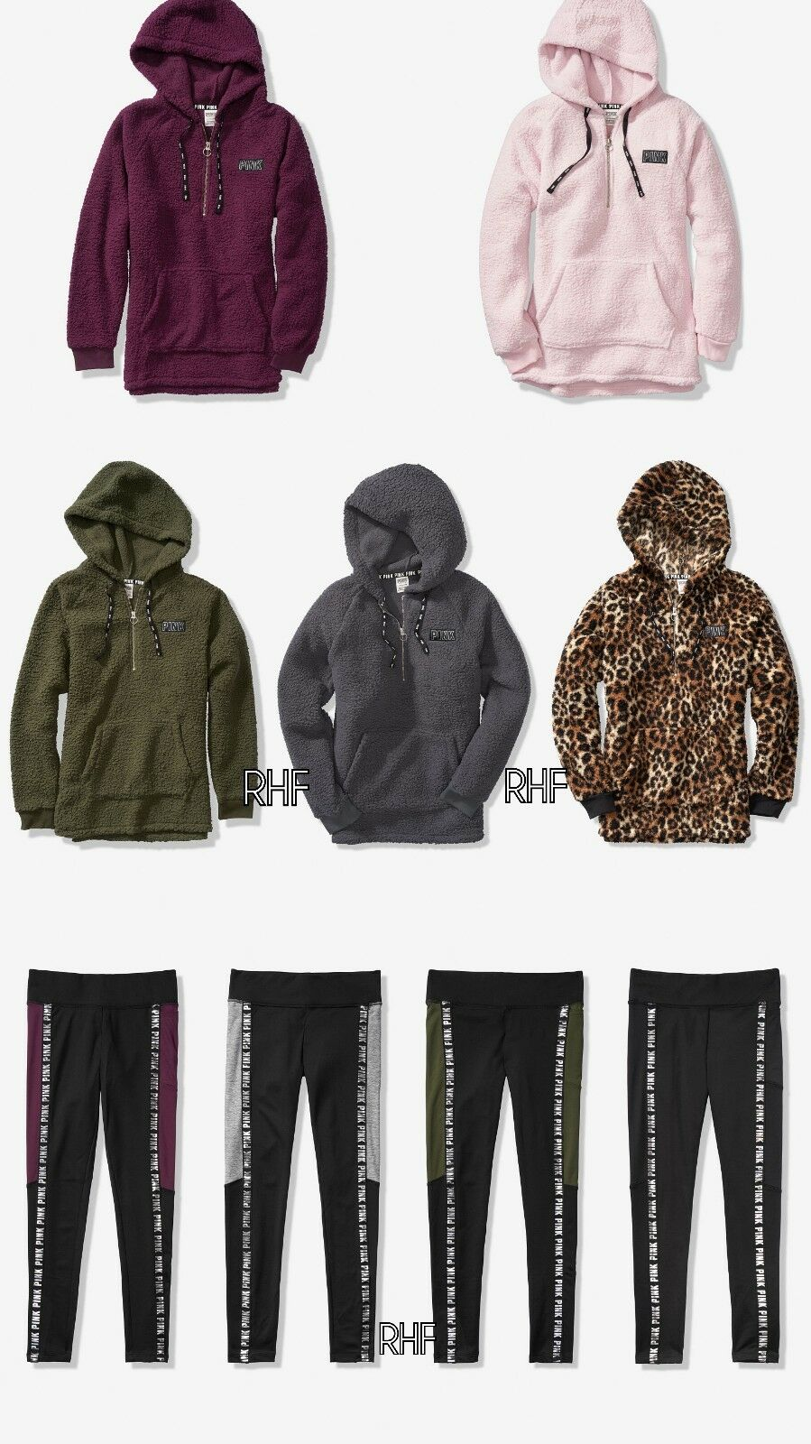 Victoria's Secret PINK Sherpa Hoodie + Fleece Lined Legging Outfit Set S-L NWT
