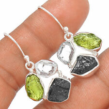 Genuine Czech Moldavite & Tourmaline 925 Sterling Silver Earrings Jewellery