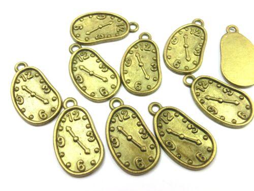 10 Charms Orologio rimorchio 23x13mm colore metallo bronzo #s333