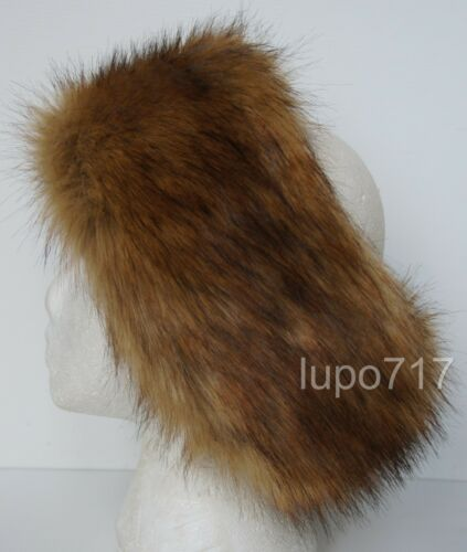 MIX COLOR FLUFFY FAUX FUR HEADBAND HAT SKI EAR WARMER MUFFS NEW ONE SIZE 60CM