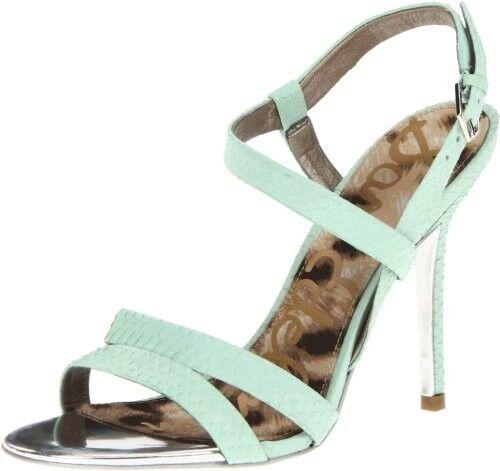 Sam Edelman Abbott Heel Light vert Snake sandals strappy chaussures Leather NEW