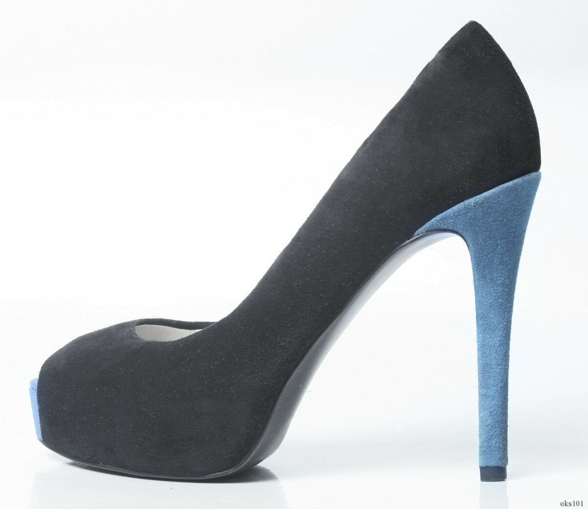New GUESS GUESS GUESS 'Paches' open-toe black suede bluee heel platforms shoes - SEXY 382e88