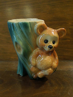 Vintage Royal Copley Brown Teddy Bear Pottery Ceramic Planter with Crazing