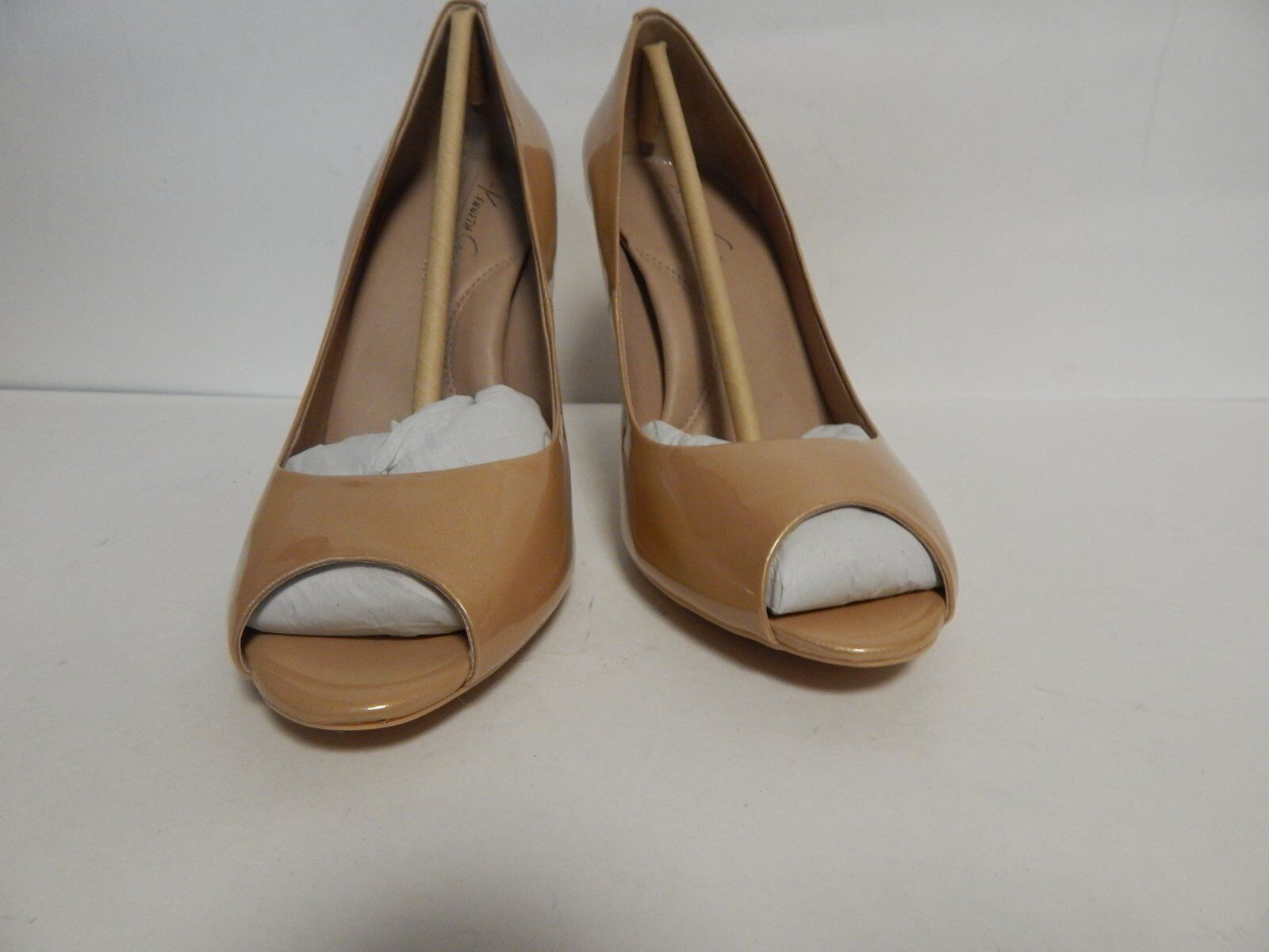 Kenneth Cole Ingrahm New Open Toe Pump Nude Patent Leder  New Ingrahm with Box 22177e