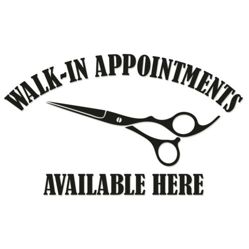 MEDIUM Walk In Appointments Available Here Window Door Barber Hair Salon Sticker