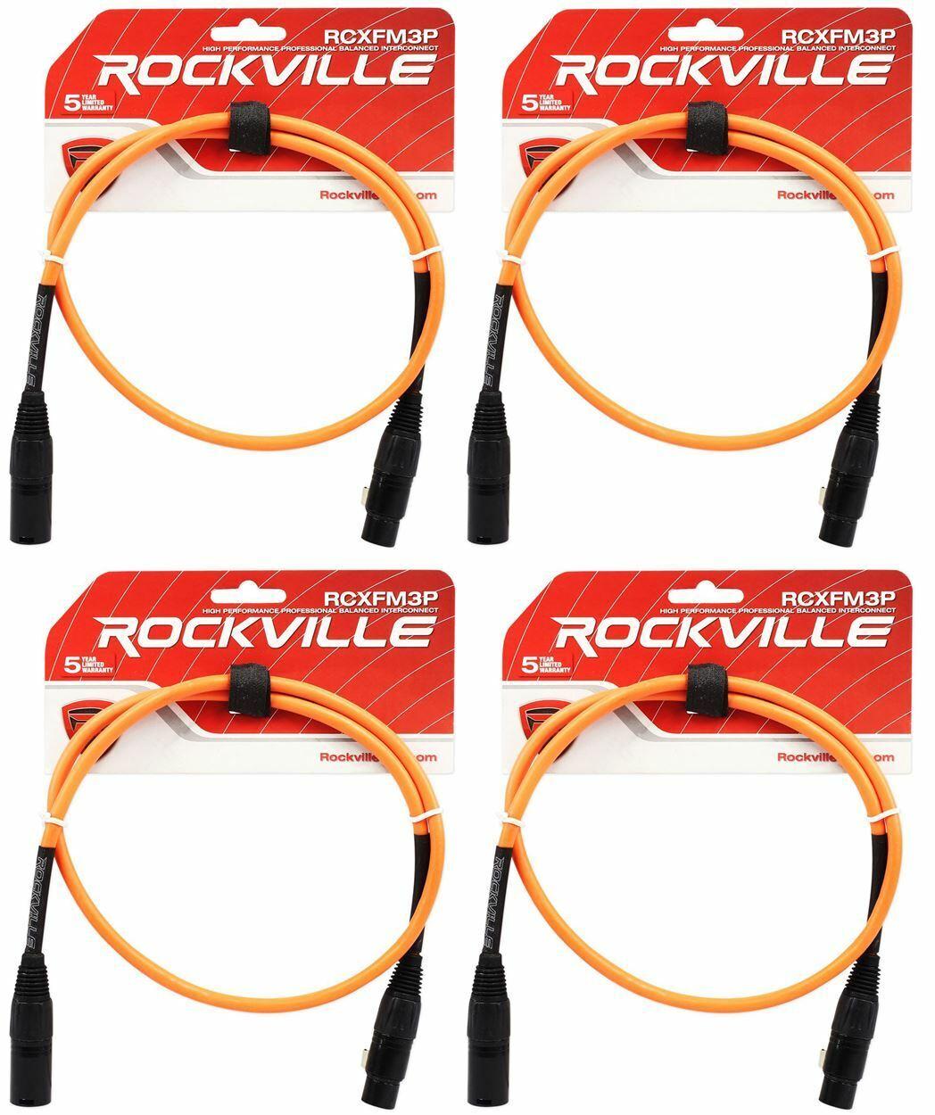 2 Rockville RCXFM3P-B Black 3/' Female to Male REAN XLR Mic Cable 100/% Copper