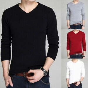 Men-039-s-V-Neck-Slim-Fit-Knitted-Pullover-Long-Sleeve-Plain-Jumper-Sweatshirt-Tops