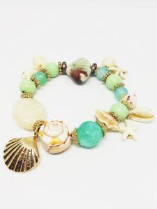 Bracelet-Bijoux-femme-Fantaisie-Vert-Dore-en-Perle-Coquillage-Bois-NEUF-ref-17