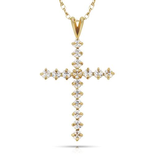 1.27TCW créé diamant Pendentif Croix Véritable 14K or Jaune Charm Coupe Ronde VVS1
