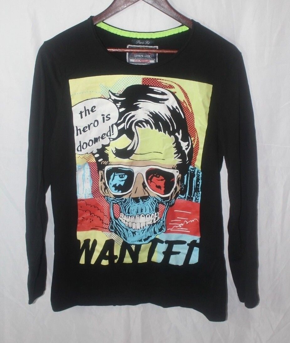 Alcott Supreme Look Paris Fit the Hero is Doomed Graphic Long Sleeve Shirt sz M