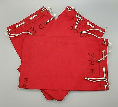 Brass Tipped Drawstring Coin Deposit Bag ~ RED Vintage Canvas Bank Bag