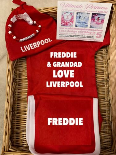 Liverpool football bodysuit hat bib  free dummy clip set Baby Red Soccer Team