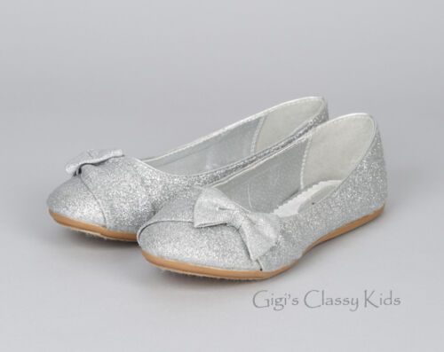 Girls Silver Flats Shoes Toddler Youth Kids Glitter Mary Jane Pageant Party New