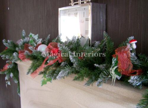 Luxe 1.8m épais dépoli christmas garland swag rouge marqué bows pommes 6ft