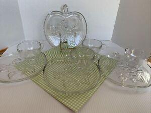 Vintage Hazel Atlas Apple Orchard Snack Tray Plates Cups Set 4 Clear Glass EUC