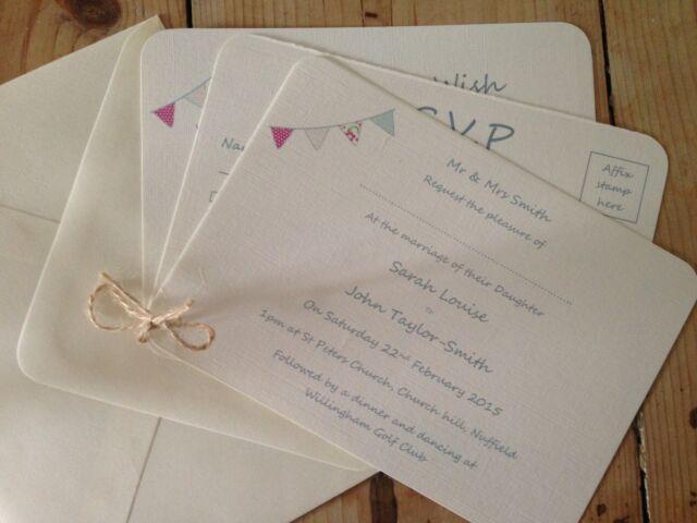 Personalised Beautiful Vintage Wedding Invitations Package & Bunting Envelopes