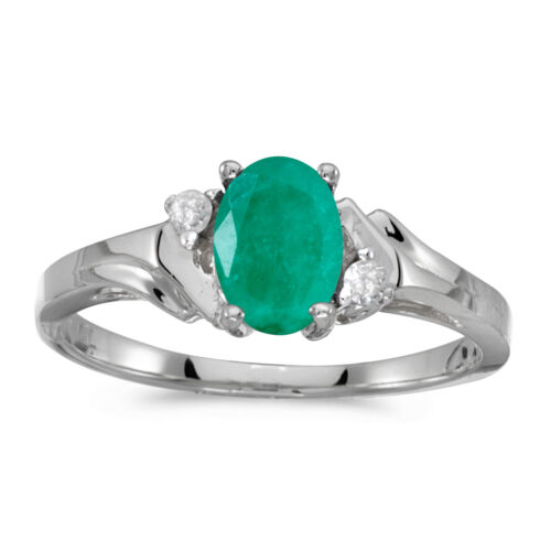 Details about  /10k White Gold Oval Emerald And Diamond Ring