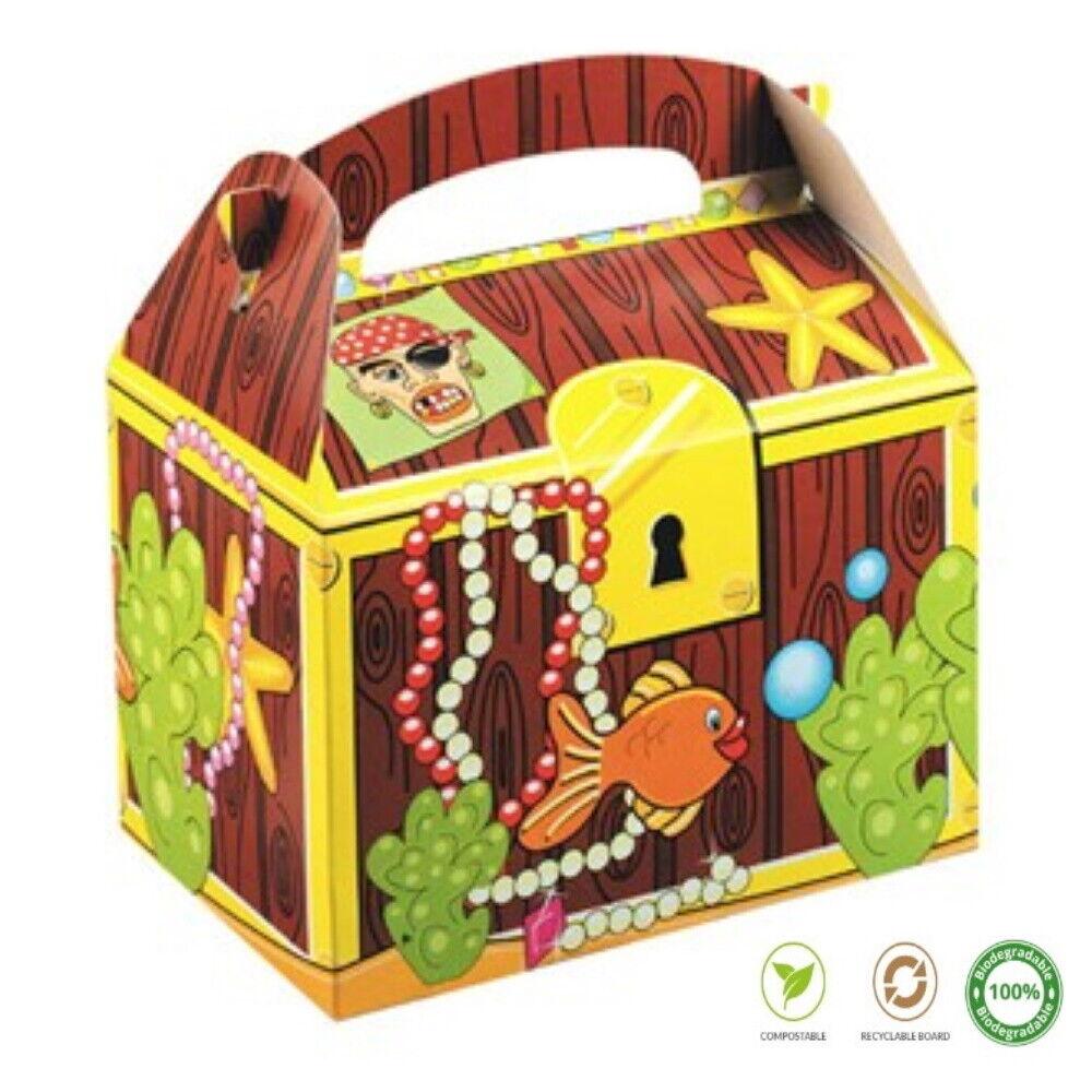 12 caja de alimentos Cofre Del Tesoro Pirata Para Niños ~ Picnic Cajas de placa de fiesta de cumpleaños
