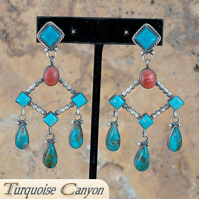 Navajo Native American Kingman Mine Turquoise Earrings by Willeto SKU#224330