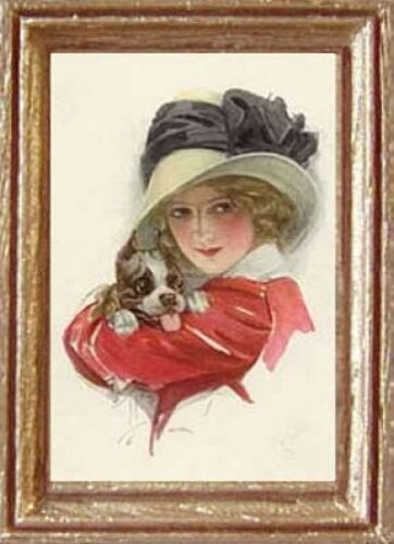 FAST DELIVERY MADE IN AMERICA Art Miniature WOMAN /& DOG Dollhouse Picture