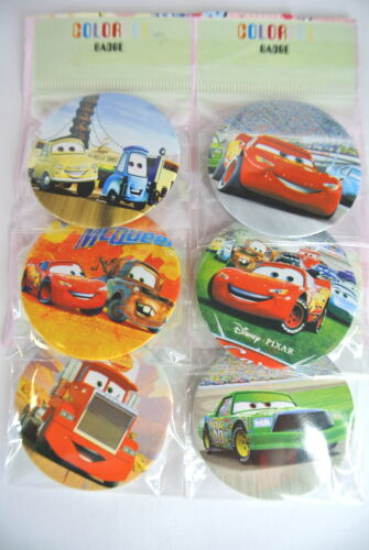 6 X Mixed Design Cars Cartoon Safety Pin Badge School Bags Clothing Party Gift