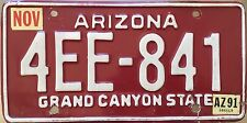 GENUINE American Arizona Grand Canyon State Red USA License Number Plate 4EE 841