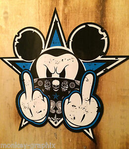 Oldschool Blue Mickey Sticker Aufkleber Biker Rockabilly Autoaufkleber Fuck off