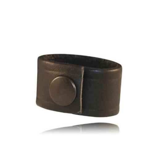 Boston Leather 5426-1 Black Leather Radio Strap Cord Keeper w//Snap Closure
