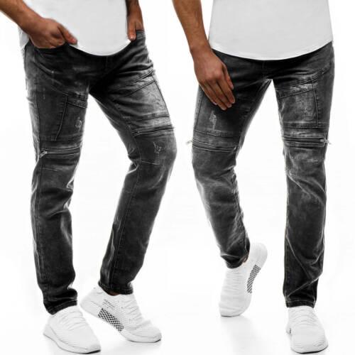 Pantaloni Jeans Skinny Jeans Straight Cut Slim Fit Pantaloni Clubwear OZONEE Uomo v//2380