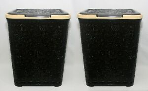 2X-55L-Large-Rattan-Plastic-Laundry-Bin-Washing-Bin-Multi-Storage-Basket-D-Brown