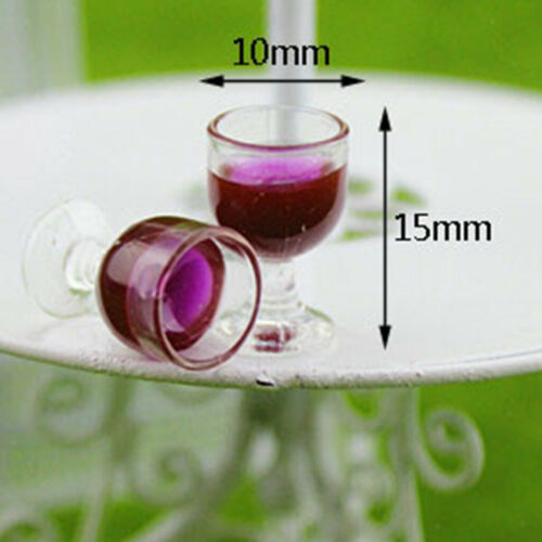 10pcs 1//12 Dollhouse Miniature Wine Glasses Goblet Room Accessories Red