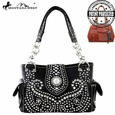 MW353G-8085 Montana West Rhinestone Black Concho Conceal Carry Handbag Purse