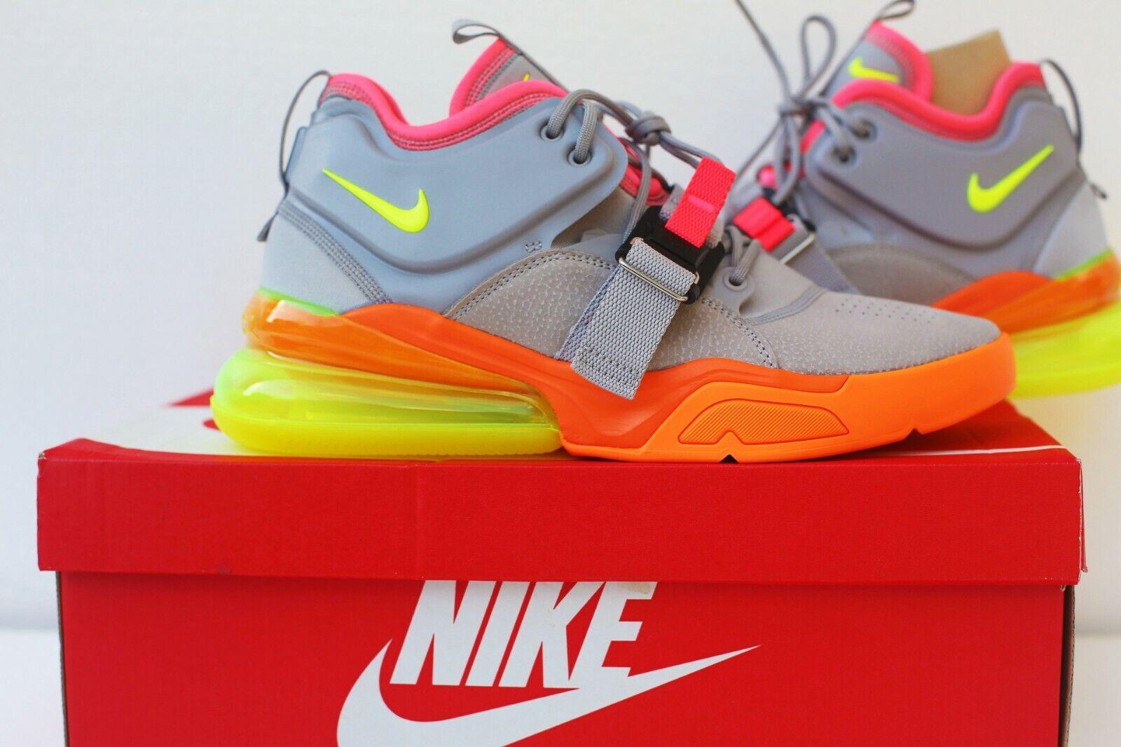New Mens NIKE Air Force 270 Sneaker Grey Volt orange Size 10