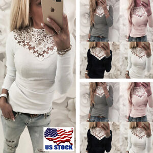 Womens-Casual-Long-Sleeve-Lace-Shirt-Tops-Blouse-Ladies-Slim-V-Neck-Pullover-USA