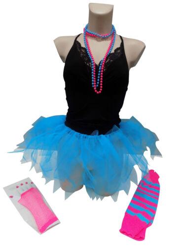 Neon Pink Tutu 80s Fancy Dress Costume Hen Party Leg Warmer  Gloves Beads