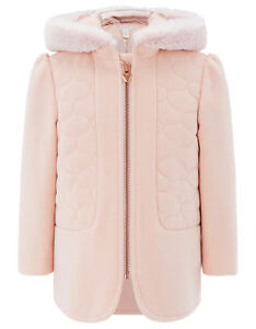 aa8442e0 Monsoon Pink Demi Quilted Fur Hooded Duffle Baby Girls Coat 3 Months ...
