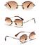 thumbnail 7 - Mens-Womens-Retro-Light-Weight-Vintage-Rimless-Oval-Diamond-Cut-Sunglasses