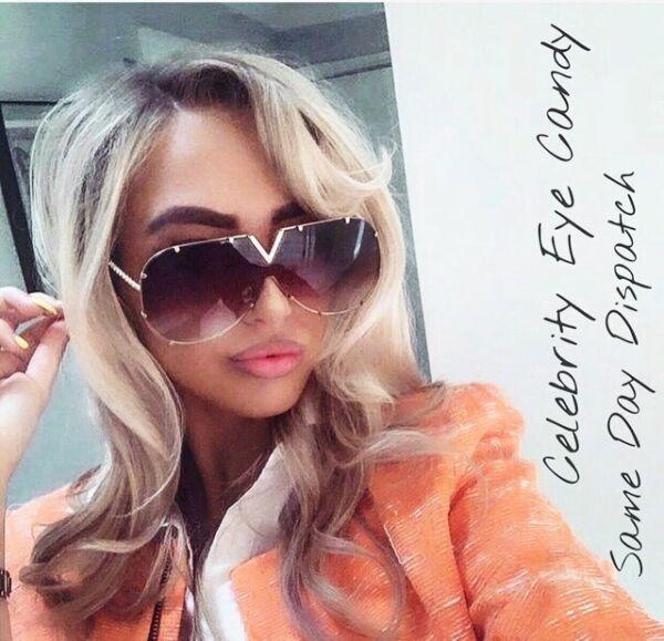 100% Vero Scudo Grigio Occhiali Da Sole Designer Look Marbs Celebrita 'azienda Inglese Ottima Qualità