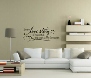 Every love story is beautiful Wall Stickers Art Word Quote Home Decor UK zx131
