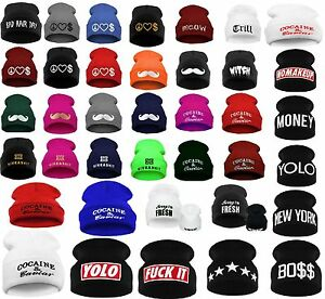 Men Women Winter Beanie Hat Bad Hair Day Caviar Wasted Youth ... 0fb2c50041