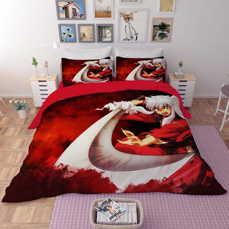 Inuyasha Cartoon Bedding set Duvet//Quilt Cover Pillowcase Bedroom Boy Girl anime