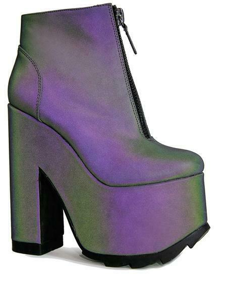 YRU Nightmare Reflective Iridescent Grey Goth Punk Womens Platforms Boots shoes