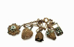 1930's Chinese Gilt Brass Filigree Seed Pearl Basket Miniature Charms Bracelet