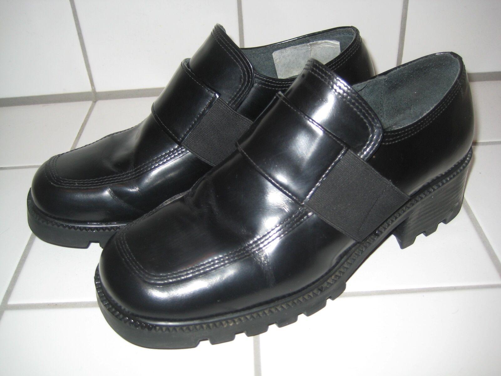 TAMARIS Halbschuhe Damen Schuhe Slipper Leder Blockabsatz Schwarz Gr. 38