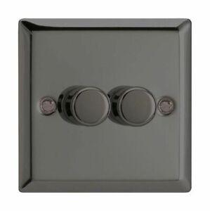 Classic Iridium Black V-Com Push-on//Push-off LED Dimmer Gang /& Wattage Option