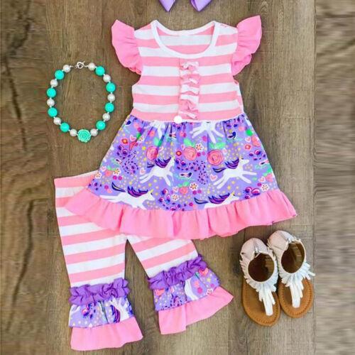 2PCS//Set Toddler Kids Baby Girl Outfits Clothes T-shirt Tops Dress Ruffled Pants
